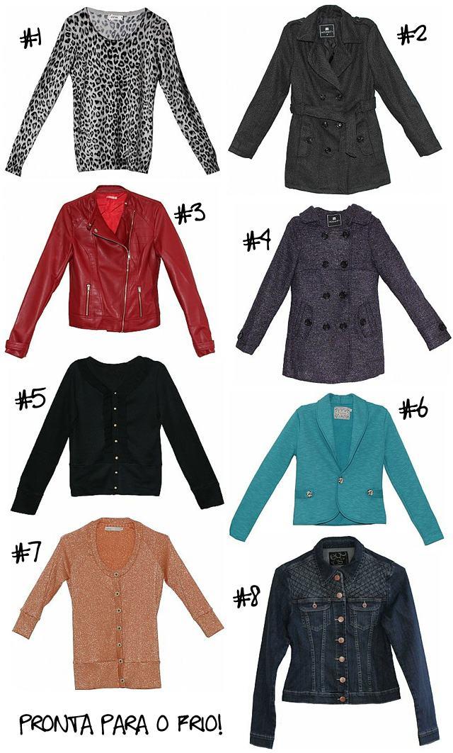 46e14f872e  1 Tricot Onça  2 Casaco de Lã  3 Jaqueta Couro Ecológico  4 Casaco de Lã  com Capuz  5 Cardigan Babados  6 Blazer Moletom  7 Cardigan Lurex  8  Jaqueta Jeans