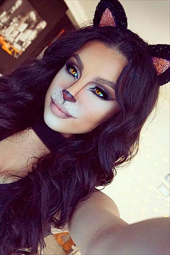 Maquiagem para halloween gata com tiara