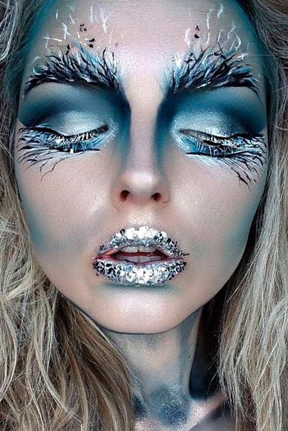 Maquiagem para halloween frozen brilhante
