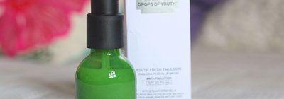 Resenha: Emulsão Antipoluição FPS20 Drops of Youth da The Body Shop
